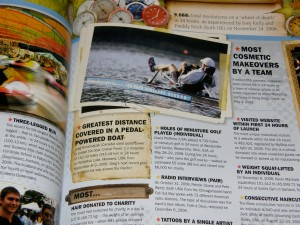 My 2008 human powered boat record makes it into the 2010 edition of the Guinness Book of World Records