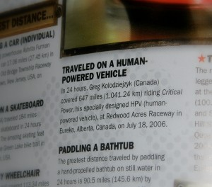 My 2006 24 hour distance record also made it into the 2010 Guinness Book of World Records for the second time - although this time without a photo.