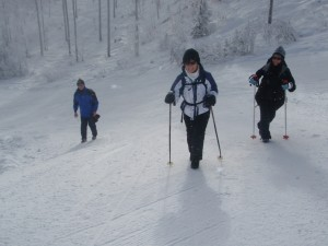 Tom Short, Helen and my sis Carol climbing the mountain