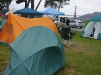 My tent in front of the Golden Gate Bridge