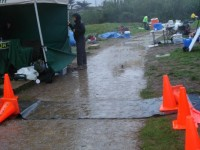 This is the muddy timing mat / aid station area