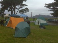 Tent city - Golden Gate Bridge in background