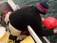 Setting buoys with Whitefish Lake Services