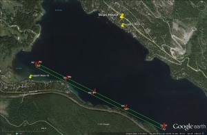 The 4.87 km course on Whitefish Lake