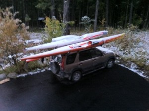 Carters surf skis covered in fresh snow.